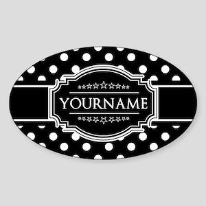 Custom Black and White Polka Dots Sticker (Oval)