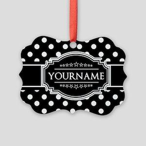 Custom Black and White Polka Dots Picture Ornament