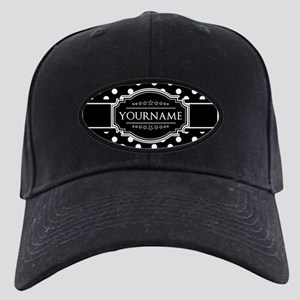 Custom Black and White Polka Dots Black Cap