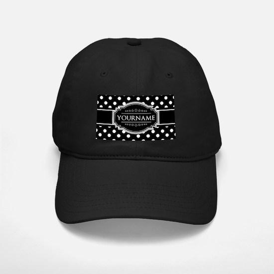 Custom Black and White Polka Dots Baseball Hat