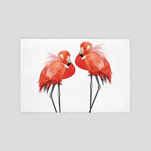 Two Pink Flamingos 4' x 6' Rug