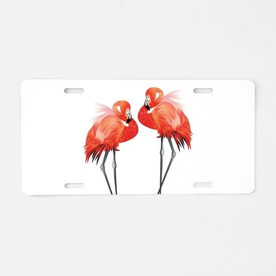 Two Pink Flamingos Aluminum License Plate