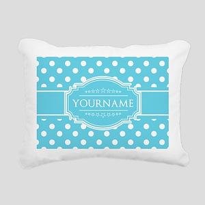 Custom Name Blue Polka D Rectangular Canvas Pillow