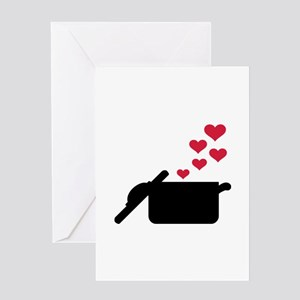 Cooking pot red hearts Greeting Card