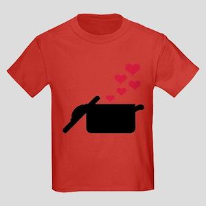 Cooking pot red hearts Kids Dark T-Shirt