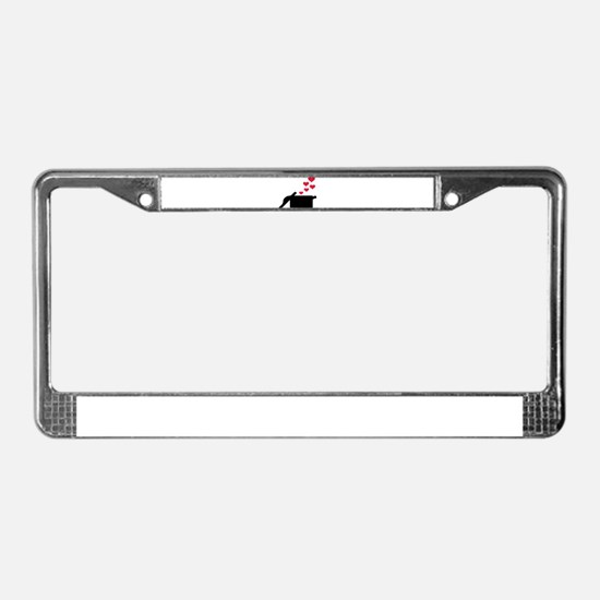 Cooking pot red hearts License Plate Frame