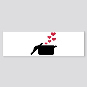 Cooking pot red hearts Sticker (Bumper)