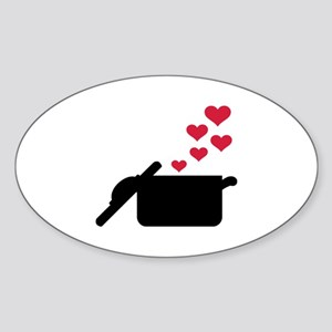 Cooking pot red hearts Sticker (Oval)