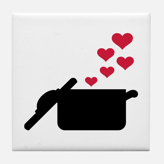 Cooking pot red hearts Tile Coaster