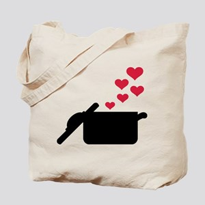 Cooking pot red hearts Tote Bag