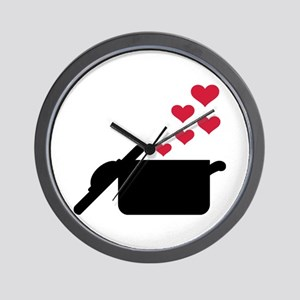 Cooking pot red hearts Wall Clock