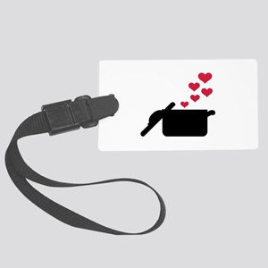 Cooking pot red hearts Large Luggage Tag