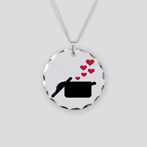 Cooking pot red hearts Necklace Circle Charm
