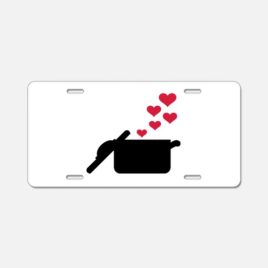 Cooking pot red hearts Aluminum License Plate