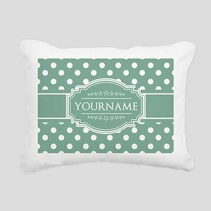 Custom Mint Polkadots Rectangular Canvas Pillow