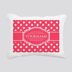 Custom Hot Pink Polkadot Rectangular Canvas Pillow