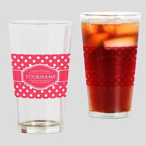 Custom Hot Pink Polkadots Drinking Glass
