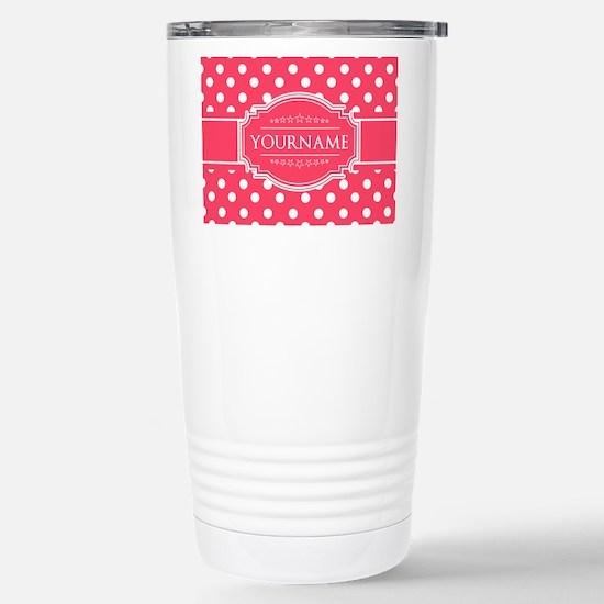 Custom Hot Pink Polkado Stainless Steel Travel Mug