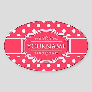 Custom Hot Pink Polkadots Sticker (Oval)