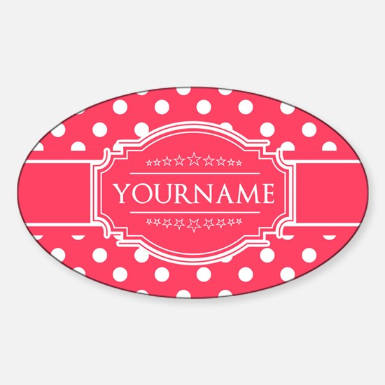 Custom Hot Pink Polkadots Sticker (Oval)