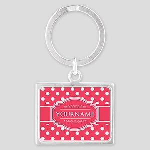 Custom Hot Pink Polkadots Landscape Keychain