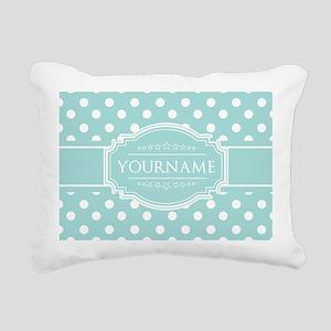 Light Blue Custom Polkad Rectangular Canvas Pillow