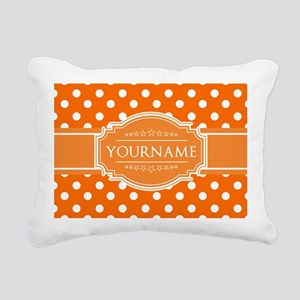 Custom Orange Polkadots Rectangular Canvas Pillow