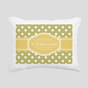 Custom Olive Polkadots Rectangular Canvas Pillow