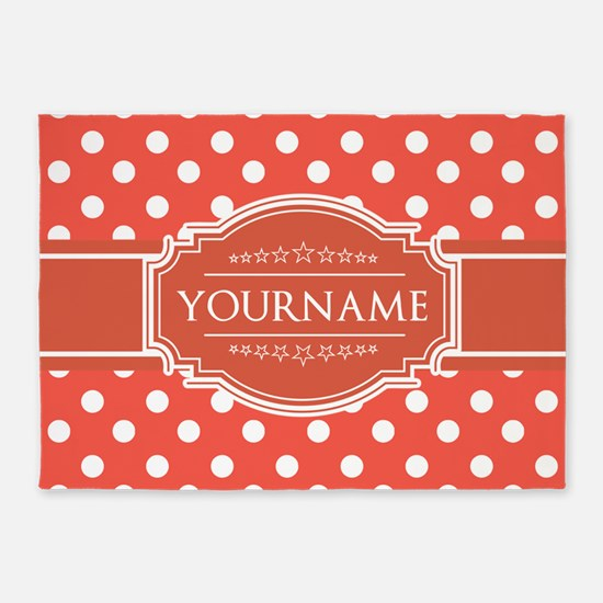 Rusty Red Polkadots Personalized 5'x7'Area Rug