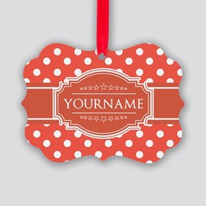 Rusty Red Polkadots Personalized Picture Ornament
