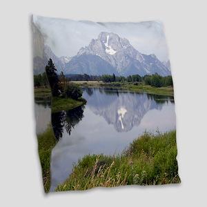 Mount Moran Burlap Throw Pillow