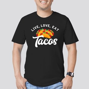 Live Love Tacos H Men's Fitted T-Shirt (dark)