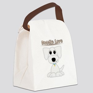 Doodle Love Cute Puppy with Blue Collar Canvas Lun
