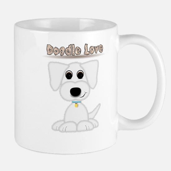Doodle Love Cute Puppy with Blue Collar Mugs
