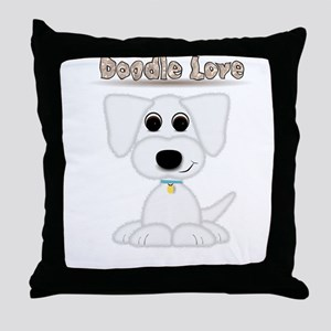 Doodle Love Cute Puppy with Blue Collar Throw Pill