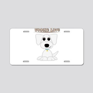Doodle Love Cute Puppy with Blue Collar Aluminum L