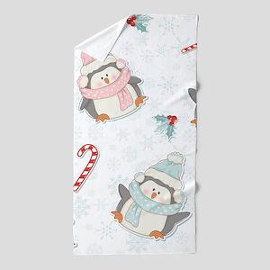 Christmas Penguins Beach Towel