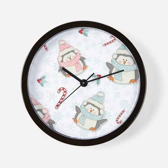 Christmas Penguins Wall Clock