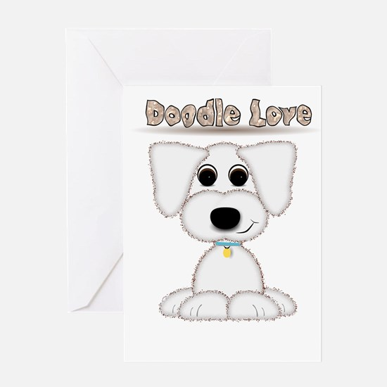 Doodle Love Cute Puppy Cartoon Greeting Cards