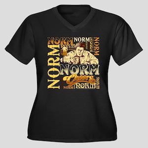 Cheers: Norm Women's Plus Size V-Neck Dark T-Shirt