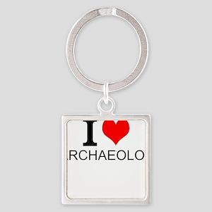 I Love Archaeology Keychains