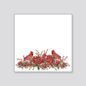 Holly, Poinsettias and Cardinals Sticker