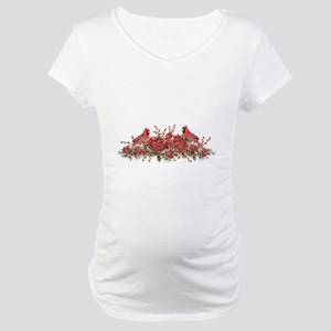 Holly, Poinsettias and Cardinals Maternity T-Shirt