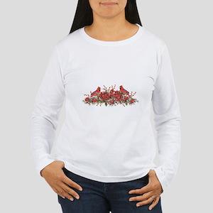 Holly, Poinsettias and Cardina Long Sleeve T-Shirt