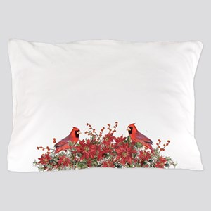 Holly, Poinsettias and Cardinals Pillow Case