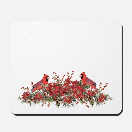 Holly, Poinsettias and Cardinals Mousepad