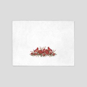 Holly, Poinsettias and Cardinals 5'x7'Area Rug