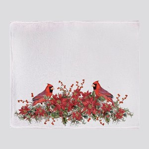 Holly, Poinsettias and Cardinals Throw Blanket