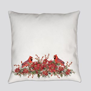 Holly, Poinsettias and Cardinals Everyday Pillow