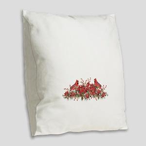 Holly, Poinsettias and Cardina Burlap Throw Pillow